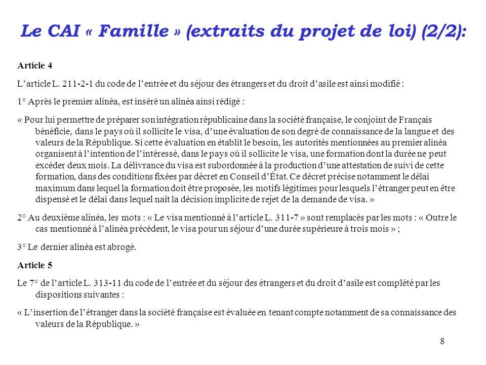 Le CAI « Famille » (extraits du projet de loi) (2/2):