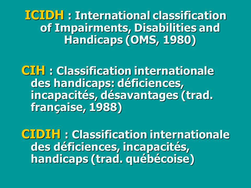 ICIDH : International classification of Impairments, Disabilities and Handicaps (OMS, 1980)