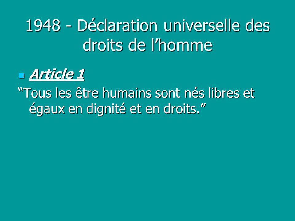 1948 - Déclaration universelle des droits de l'homme