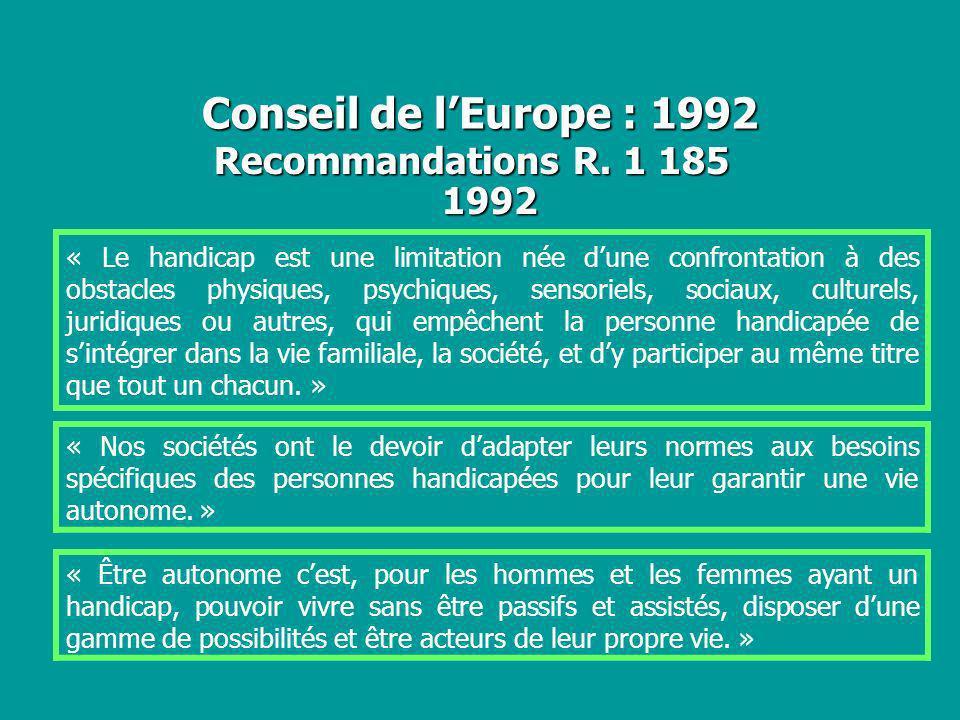 Conseil de l'Europe : 1992 Recommandations R. 1 185 1992