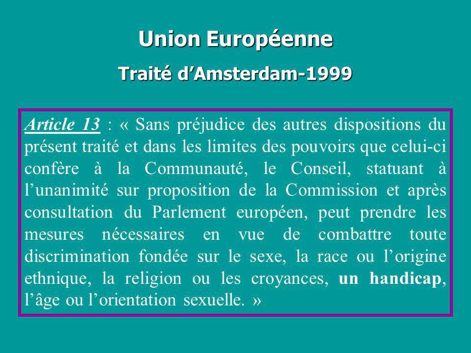 Union Européenne Traité d'Amsterdam-1999