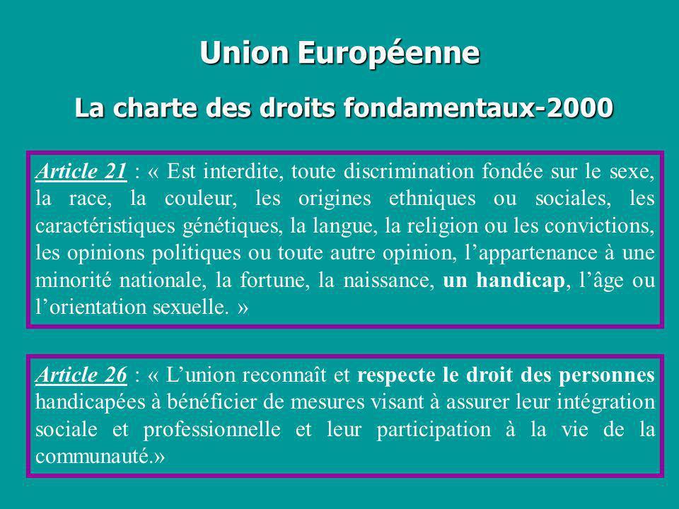 Union Européenne La charte des droits fondamentaux-2000