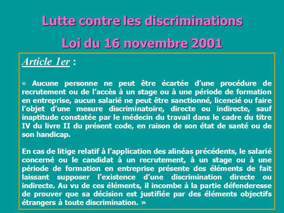 Lutte contre les discriminations Loi du 16 novembre 2001
