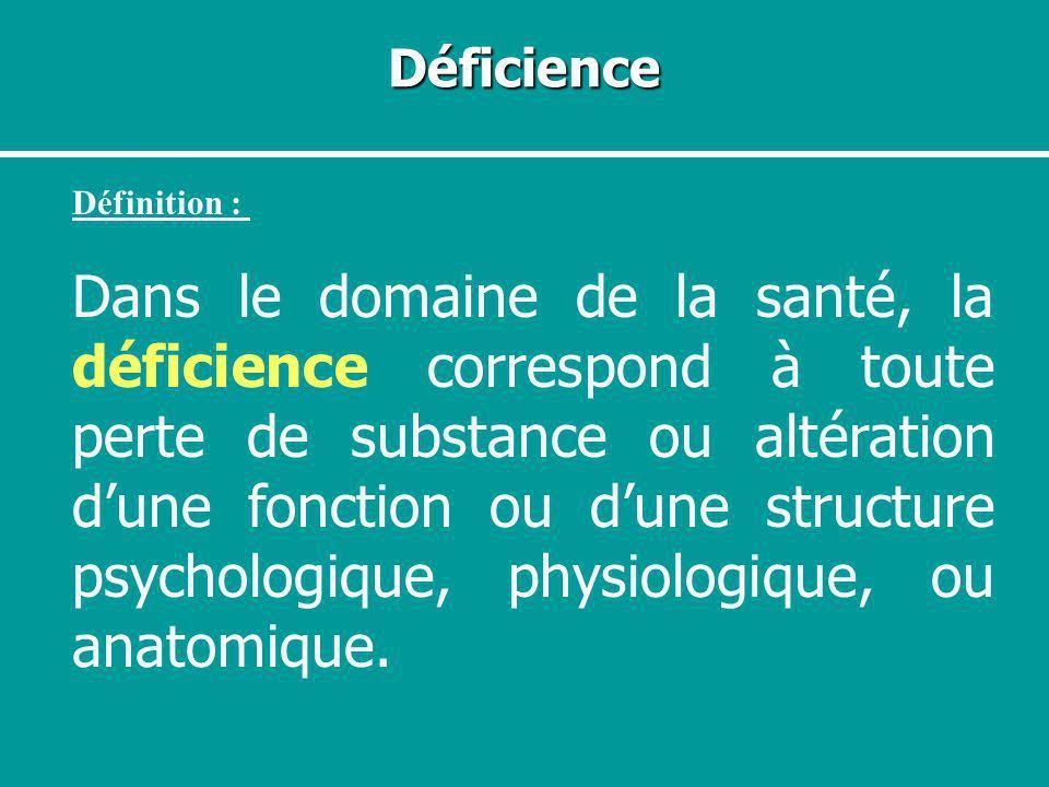 Déficience Définition :