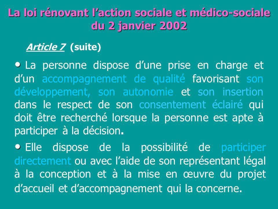 La loi rénovant l'action sociale et médico-sociale du 2 janvier 2002