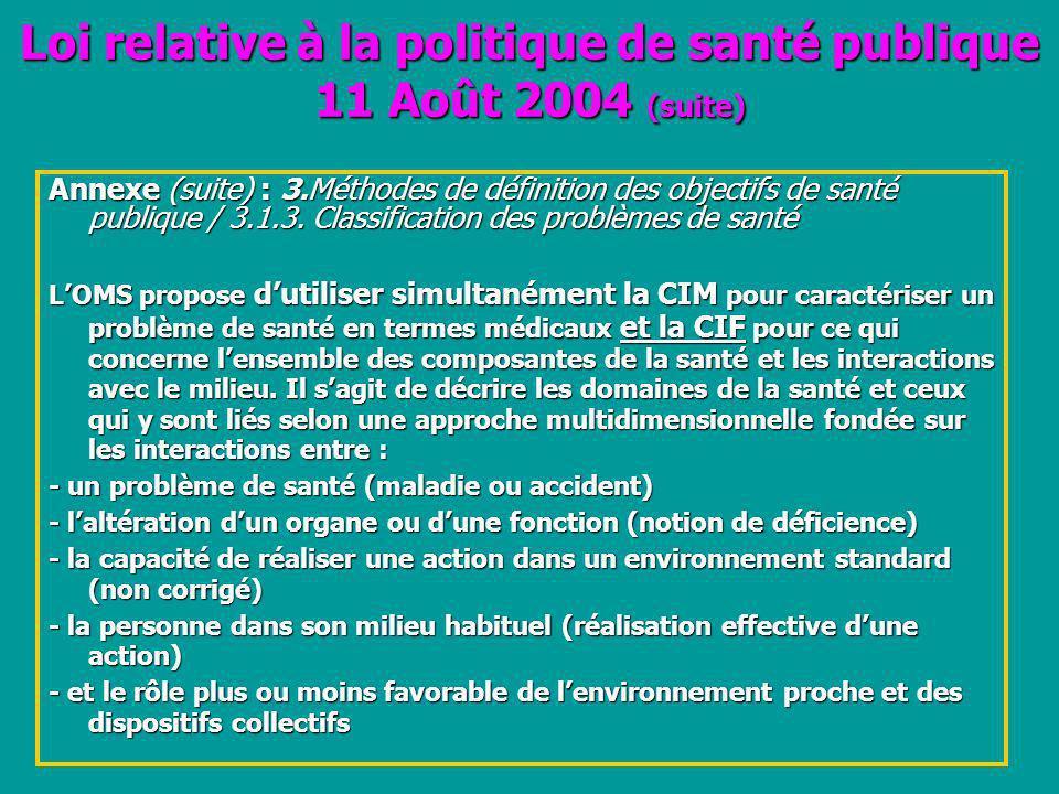 Loi relative à la politique de santé publique 11 Août 2004 (suite)