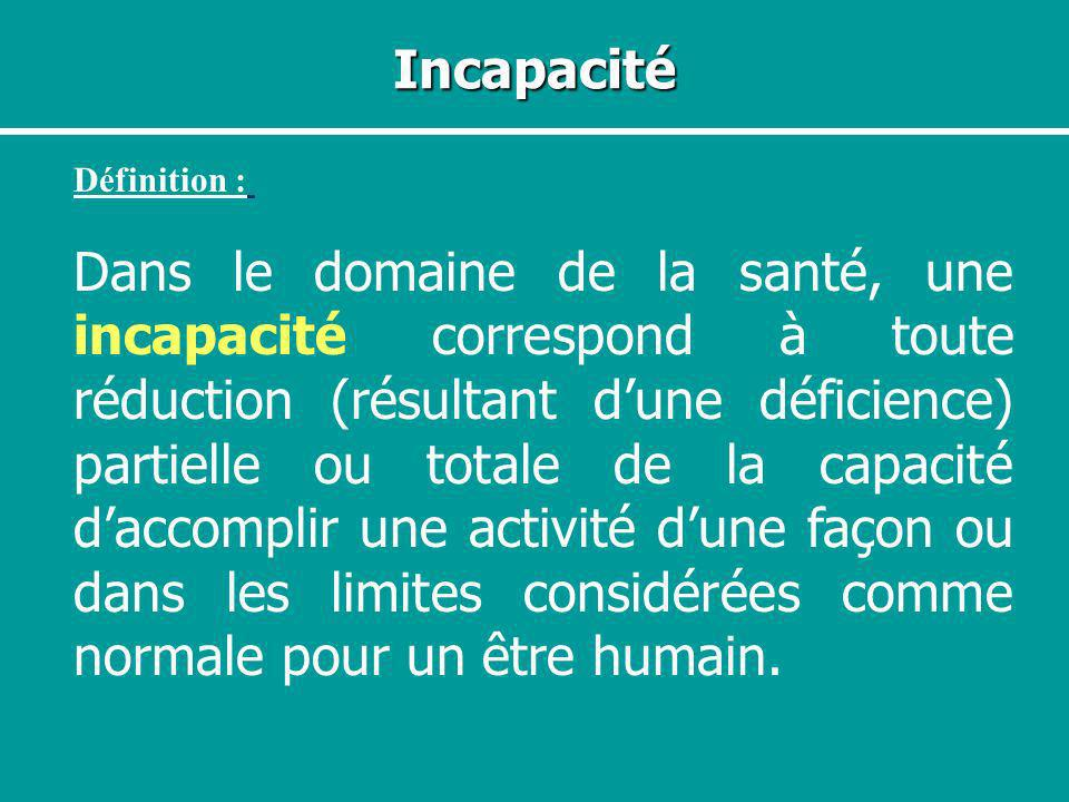 IncapacitéDéfinition :