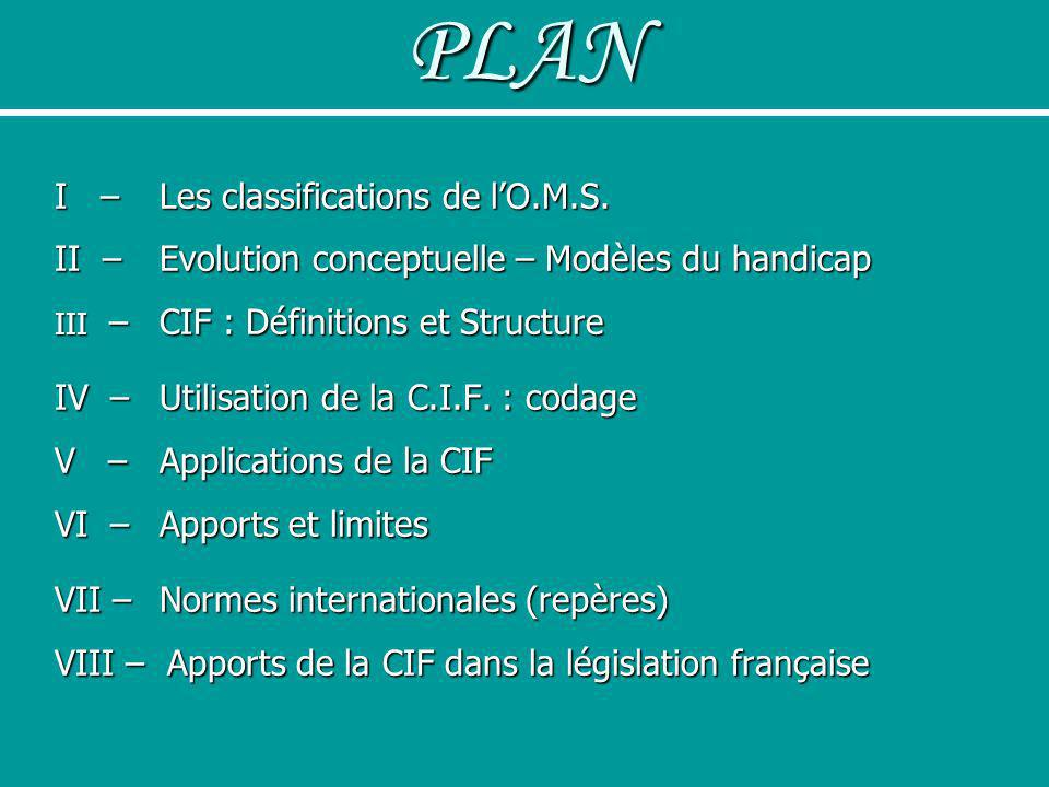 PLAN I – Les classifications de l'O.M.S.