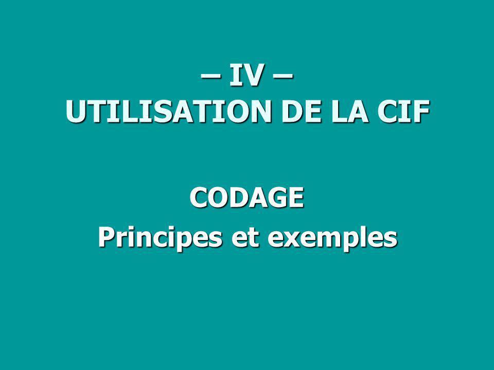 – IV – UTILISATION DE LA CIF