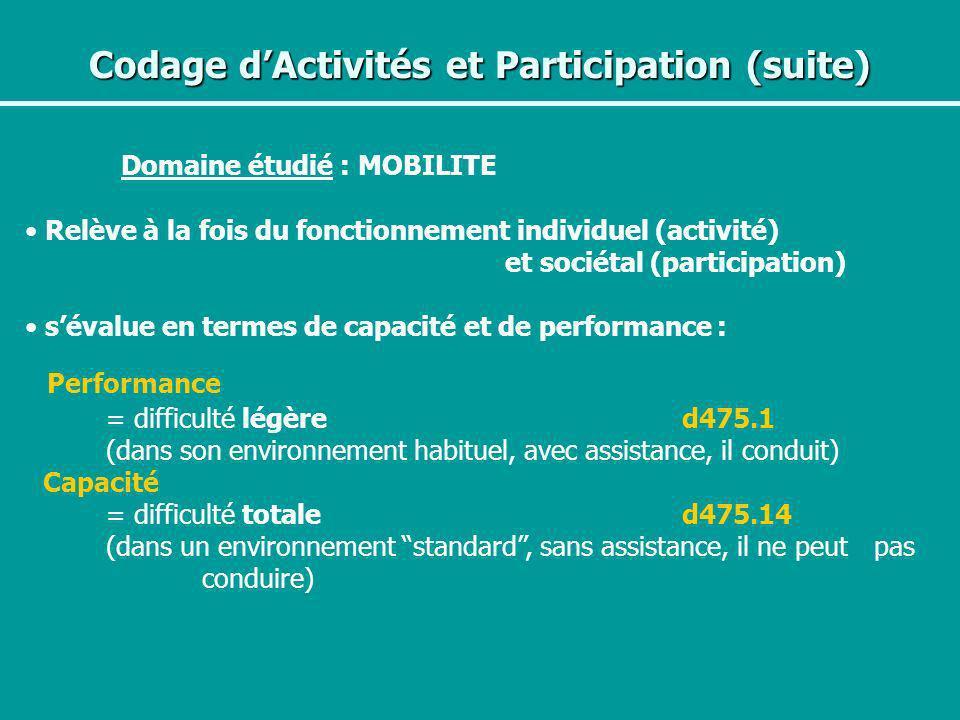 Codage d'Activités et Participation (suite)