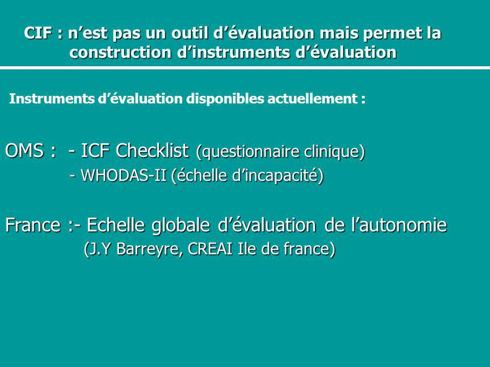OMS : - ICF Checklist (questionnaire clinique)