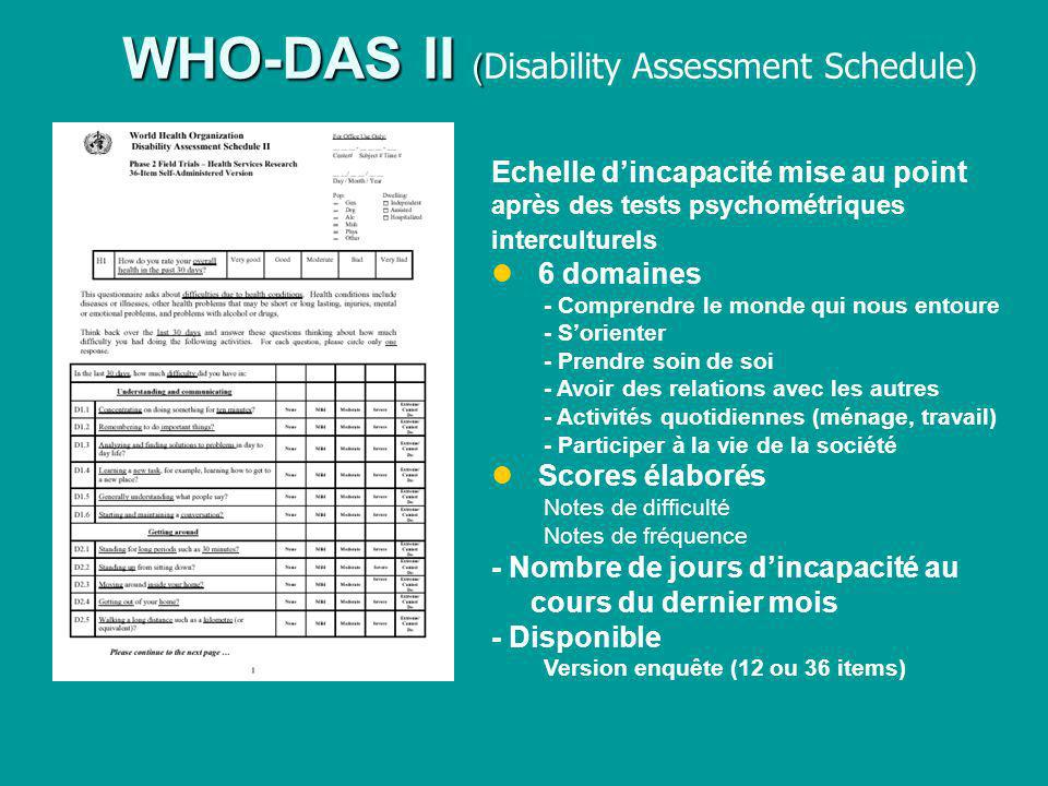 WHO-DAS II (Disability Assessment Schedule)