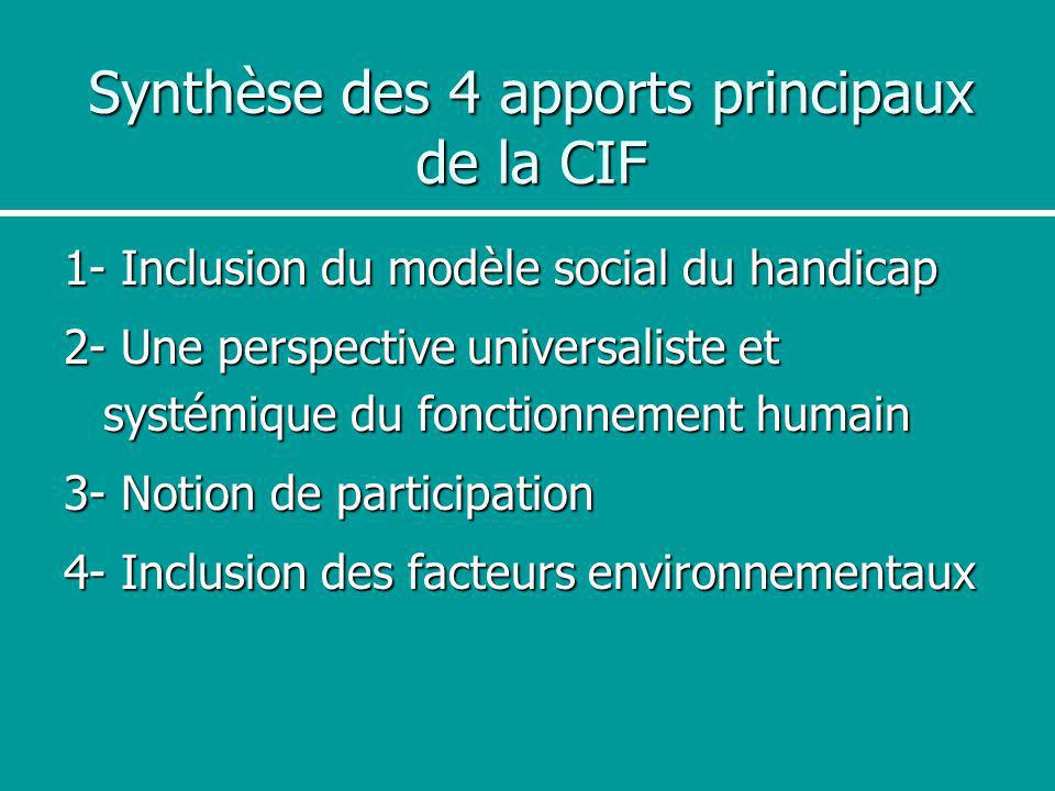Synthèse des 4 apports principaux de la CIF
