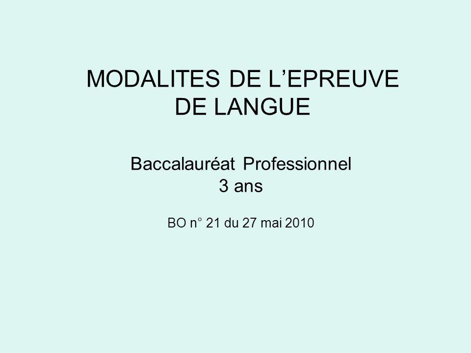 MODALITES DE L'EPREUVE DE LANGUE