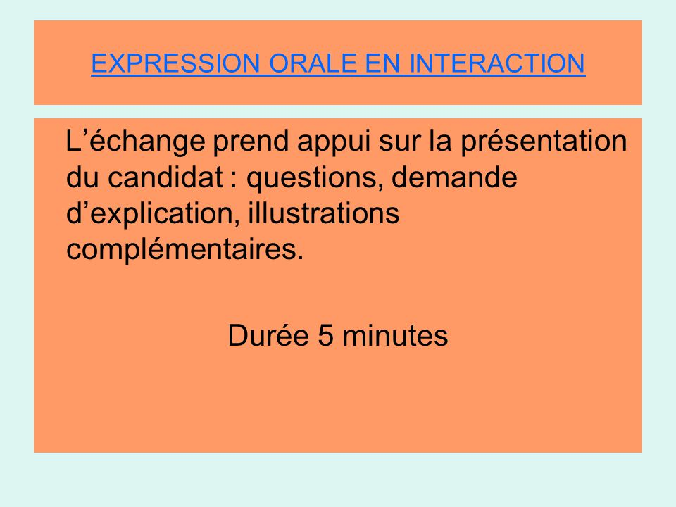 EXPRESSION ORALE EN INTERACTION