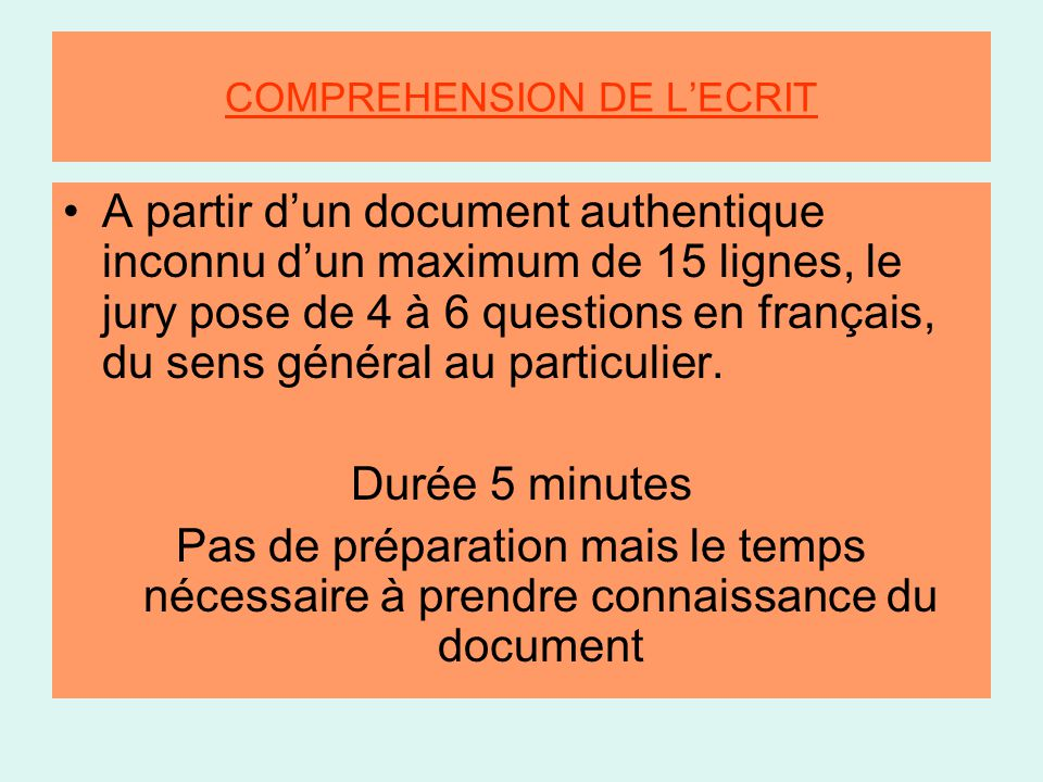 COMPREHENSION DE L'ECRIT