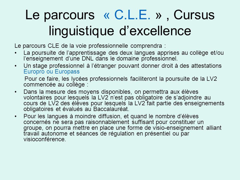 Le parcours « C.L.E. » , Cursus linguistique d'excellence