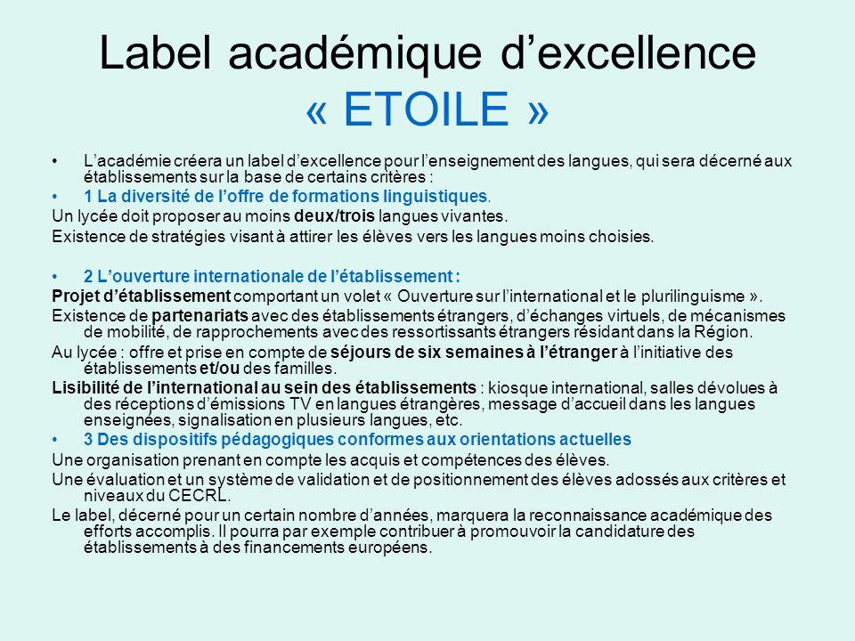 Label académique d'excellence « ETOILE »