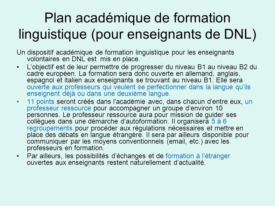 Plan académique de formation linguistique (pour enseignants de DNL)