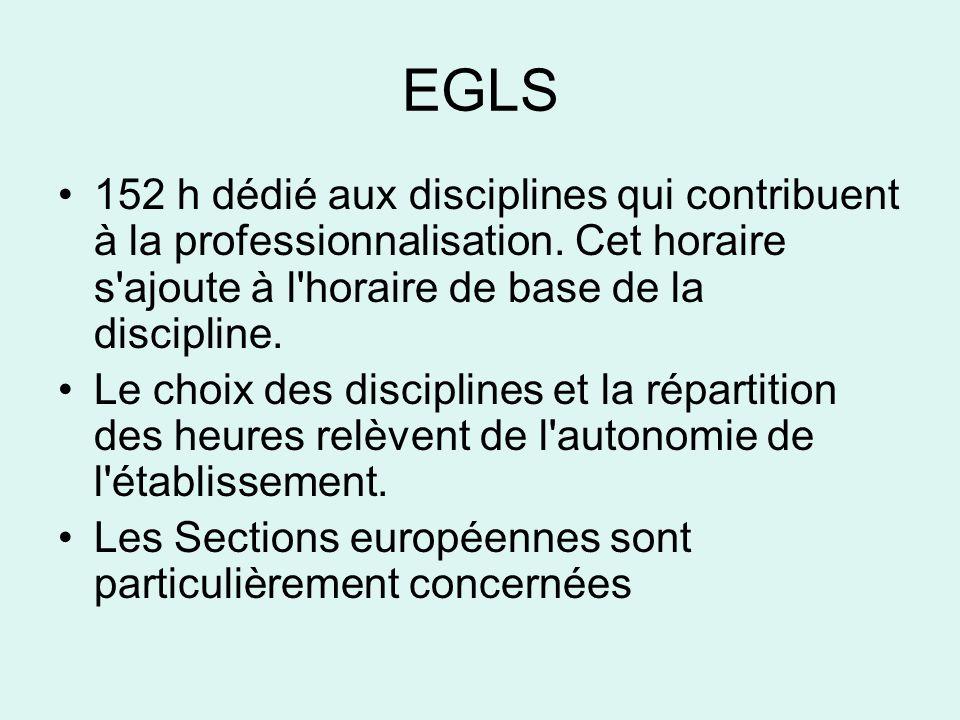 EGLS 152 h dédié aux disciplines qui contribuent à la professionnalisation. Cet horaire s ajoute à l horaire de base de la discipline.