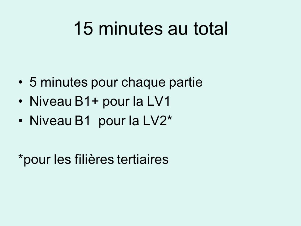 15 minutes au total 5 minutes pour chaque partie