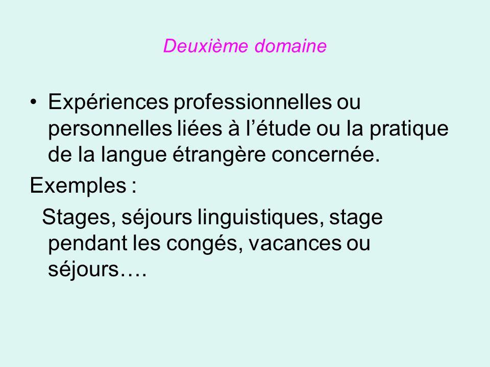 Deuxième domaine Expériences professionnelles ou personnelles liées à l'étude ou la pratique de la langue étrangère concernée.