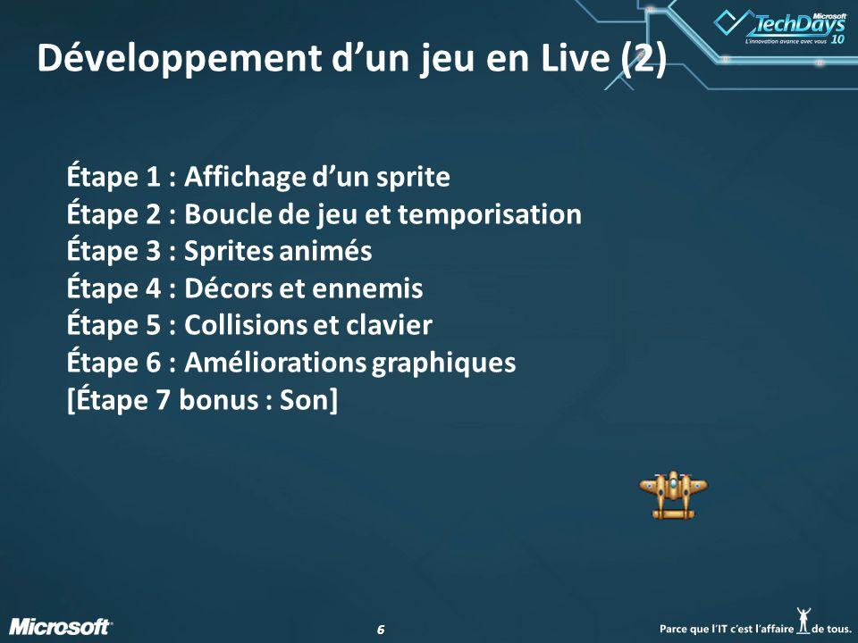 Développement d'un jeu en Live (2)