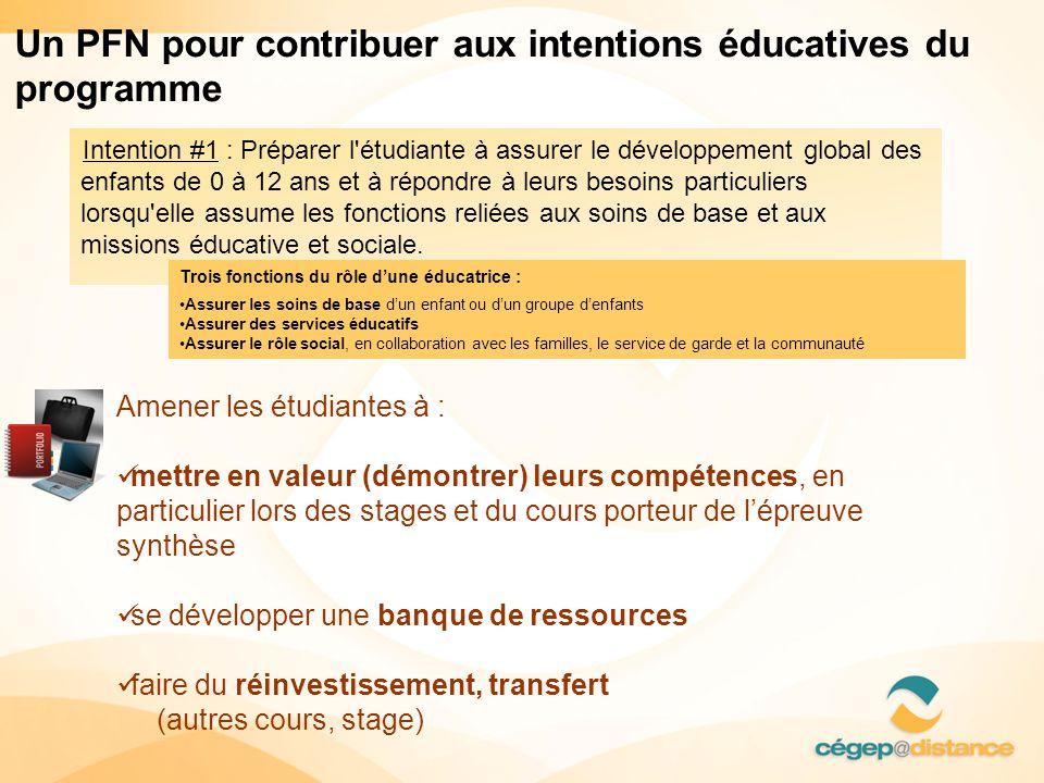Un PFN pour contribuer aux intentions éducatives du programme
