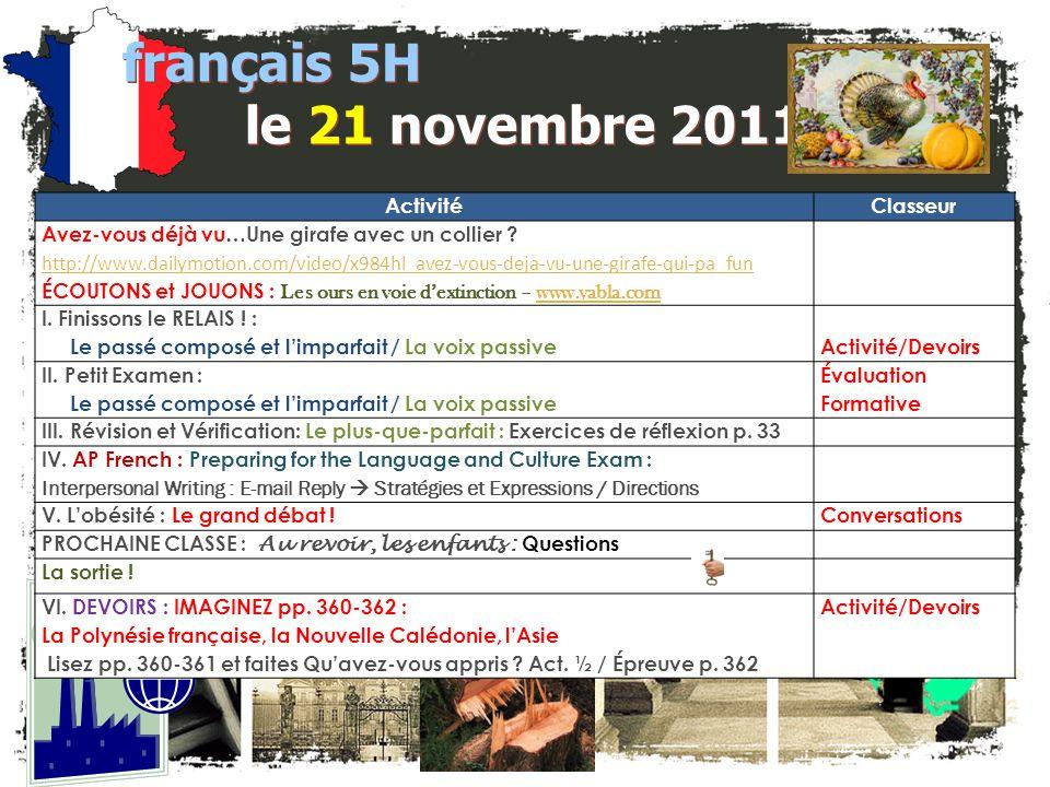 français 5H le 21 novembre 2011 Activité Classeur