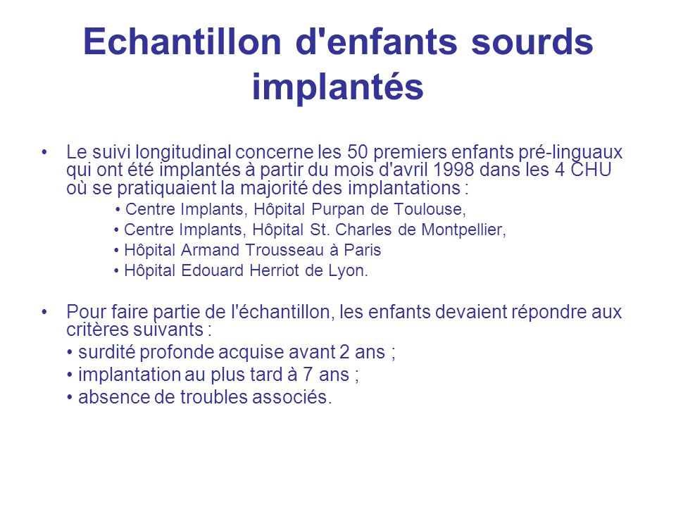 Echantillon d enfants sourds implantés