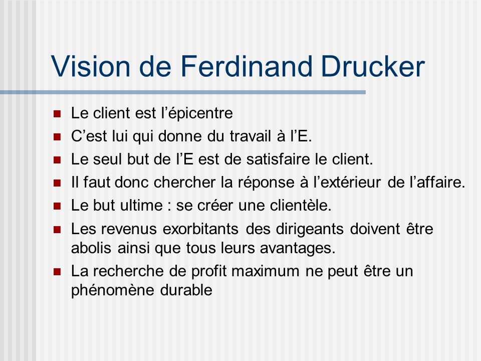 Vision de Ferdinand Drucker