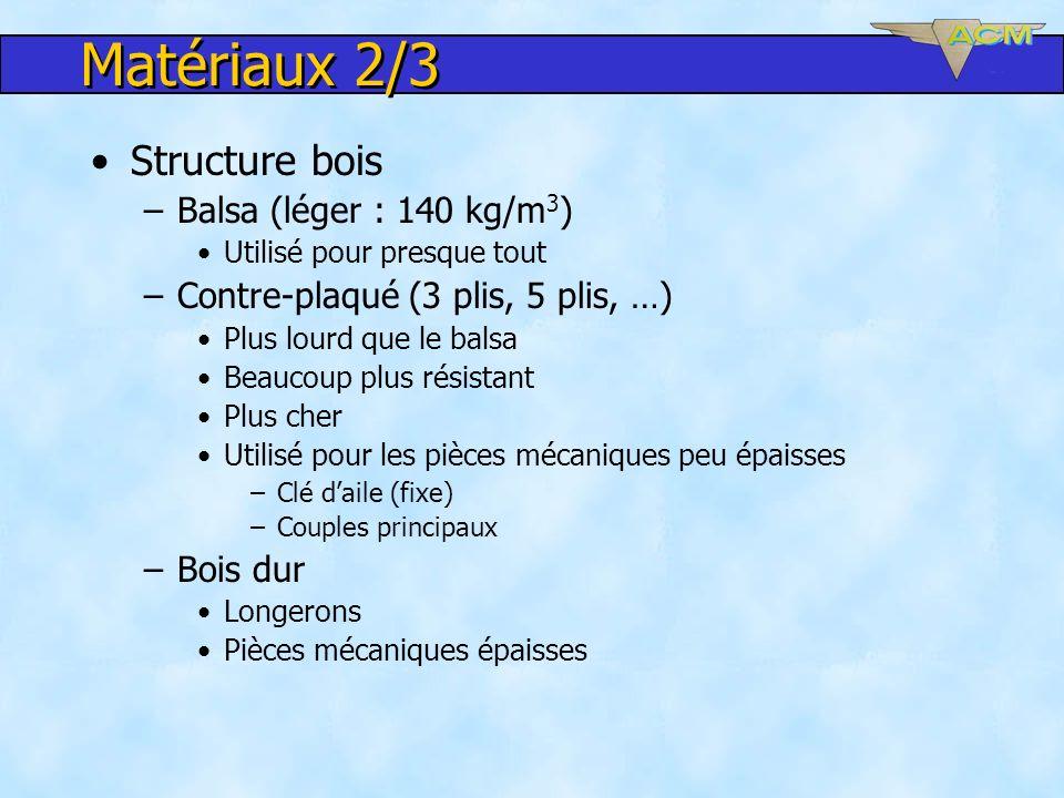 Matériaux 2/3 Structure bois Balsa (léger : 140 kg/m3)