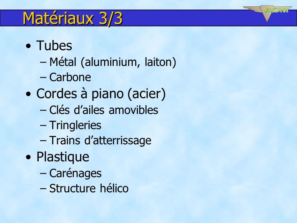 Matériaux 3/3 Tubes Cordes à piano (acier) Plastique