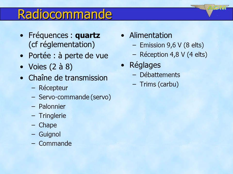 Radiocommande Fréquences : quartz (cf réglementation)