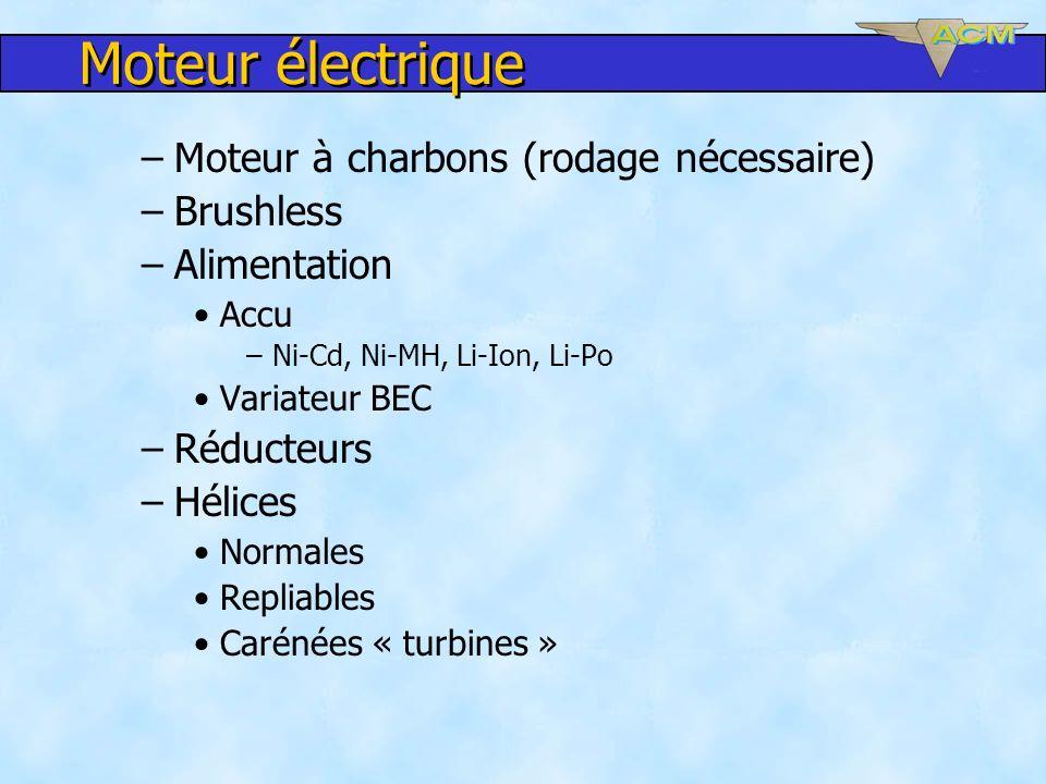 Moteur électrique Moteur à charbons (rodage nécessaire) Brushless