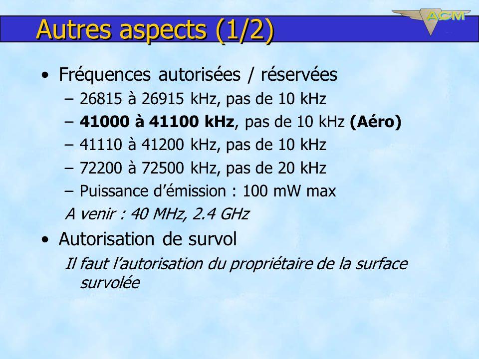 Autres aspects (1/2) Fréquences autorisées / réservées
