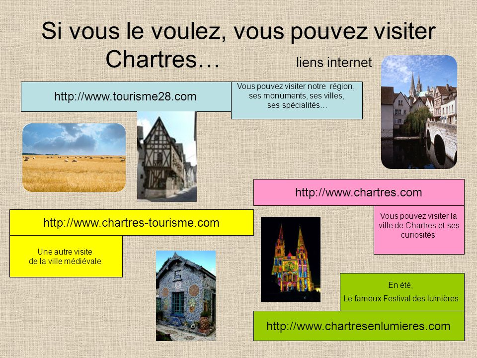 Si vous le voulez, vous pouvez visiter Chartres… liens internet