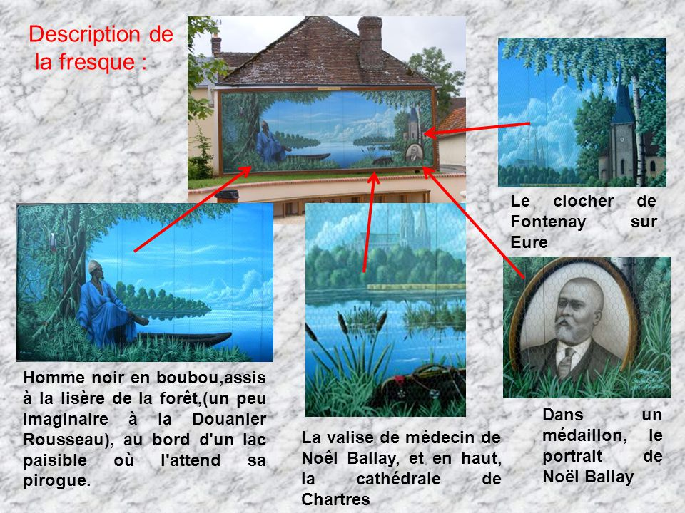 Description de la fresque : Le clocher de Fontenay sur Eure