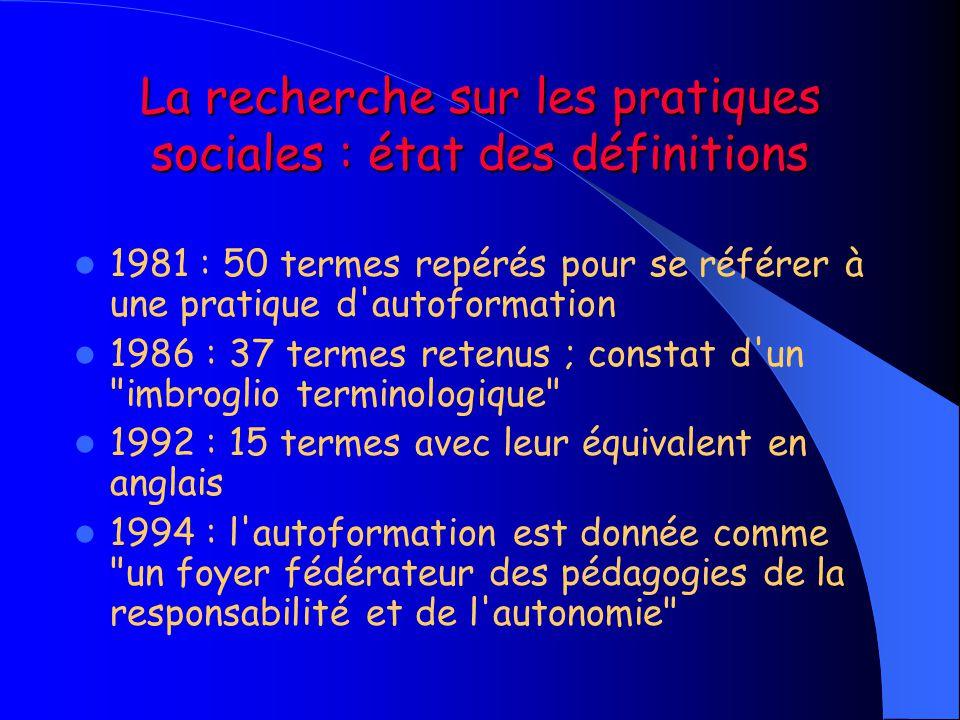 La recherche sur les pratiques sociales : état des définitions
