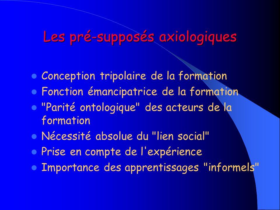 Les pré-supposés axiologiques