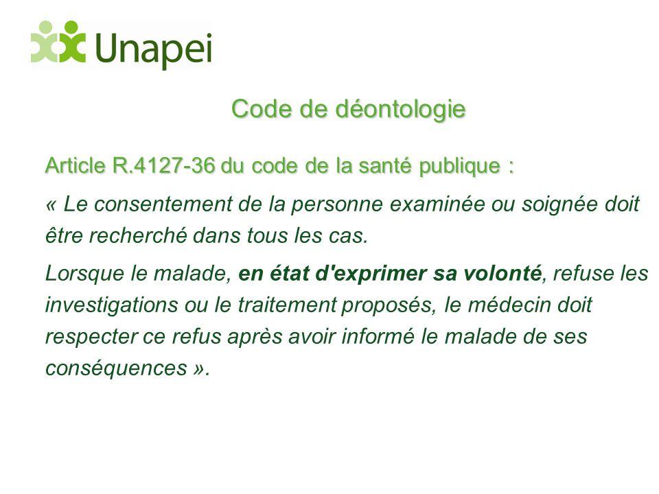 Code de déontologie Article R.4127-36 du code de la santé publique :