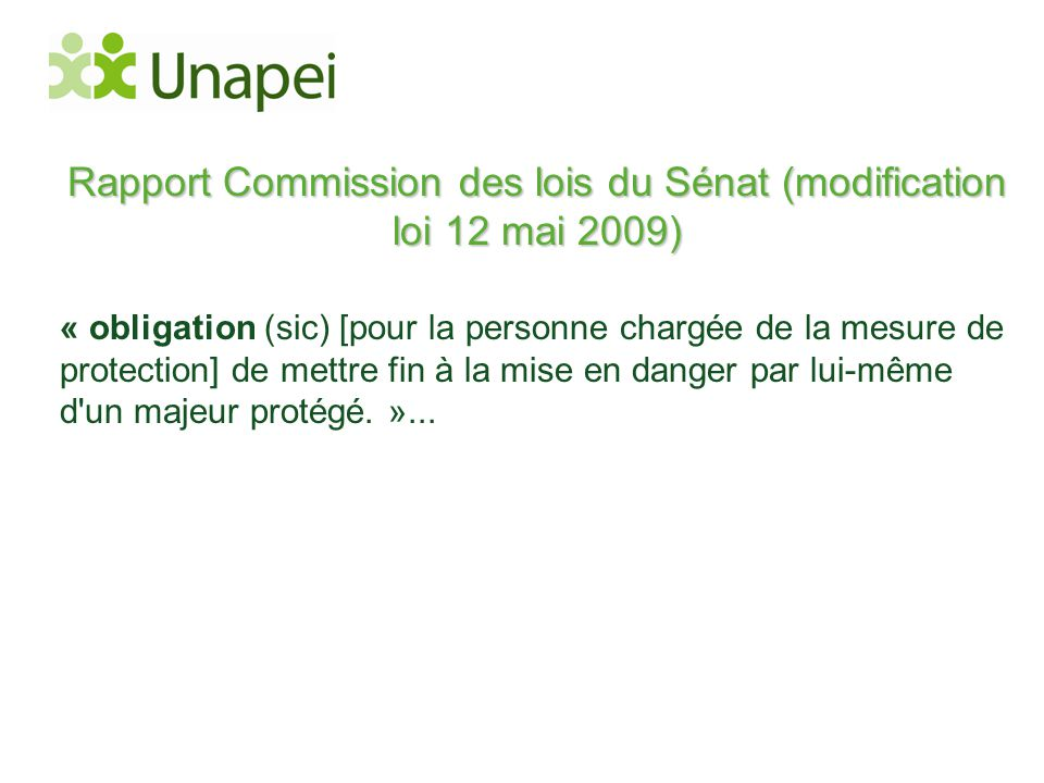 Rapport Commission des lois du Sénat (modification loi 12 mai 2009)