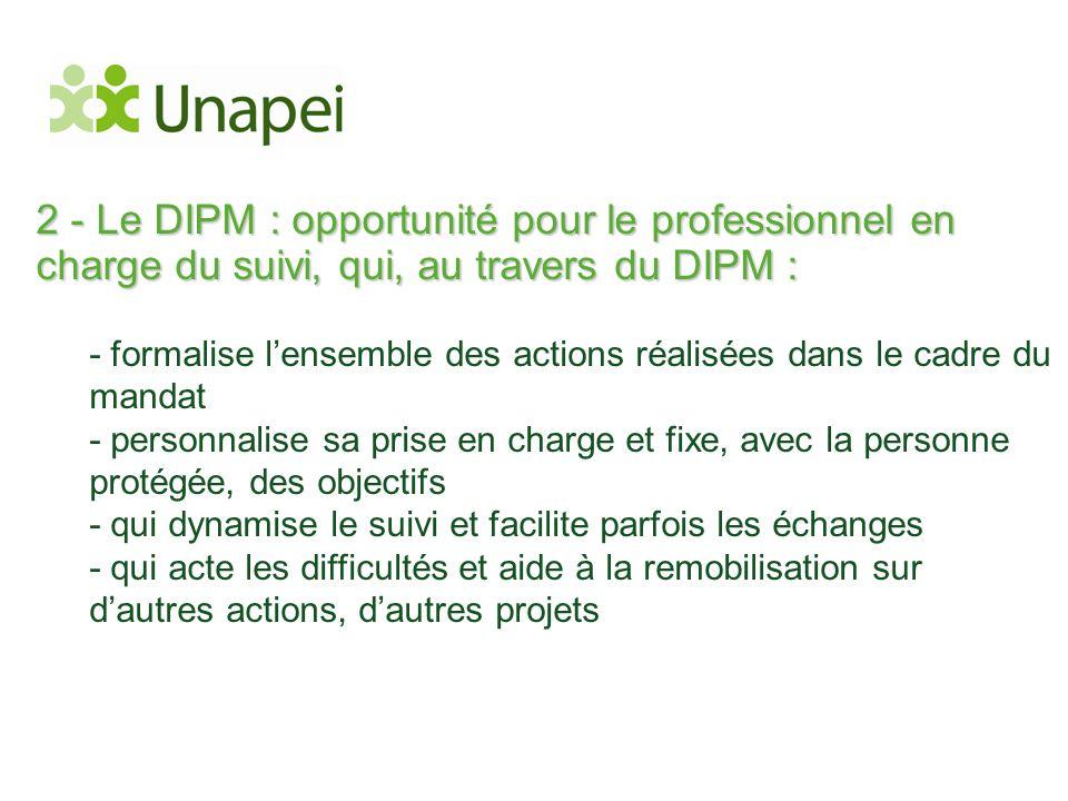 2 - Le DIPM : opportunité pour le professionnel en charge du suivi, qui, au travers du DIPM :