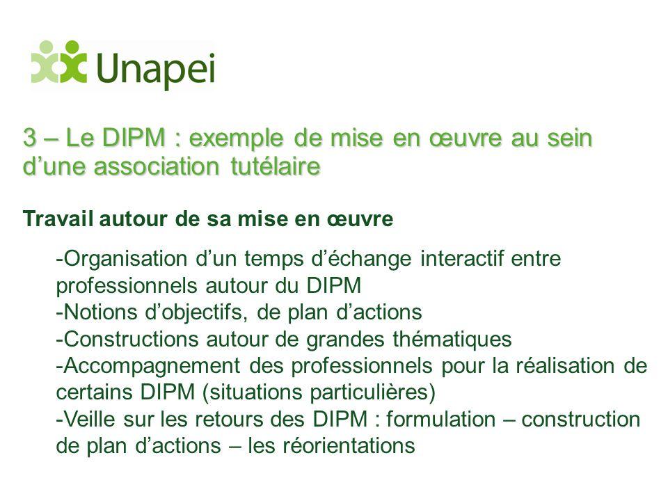 3 – Le DIPM : exemple de mise en œuvre au sein d'une association tutélaire