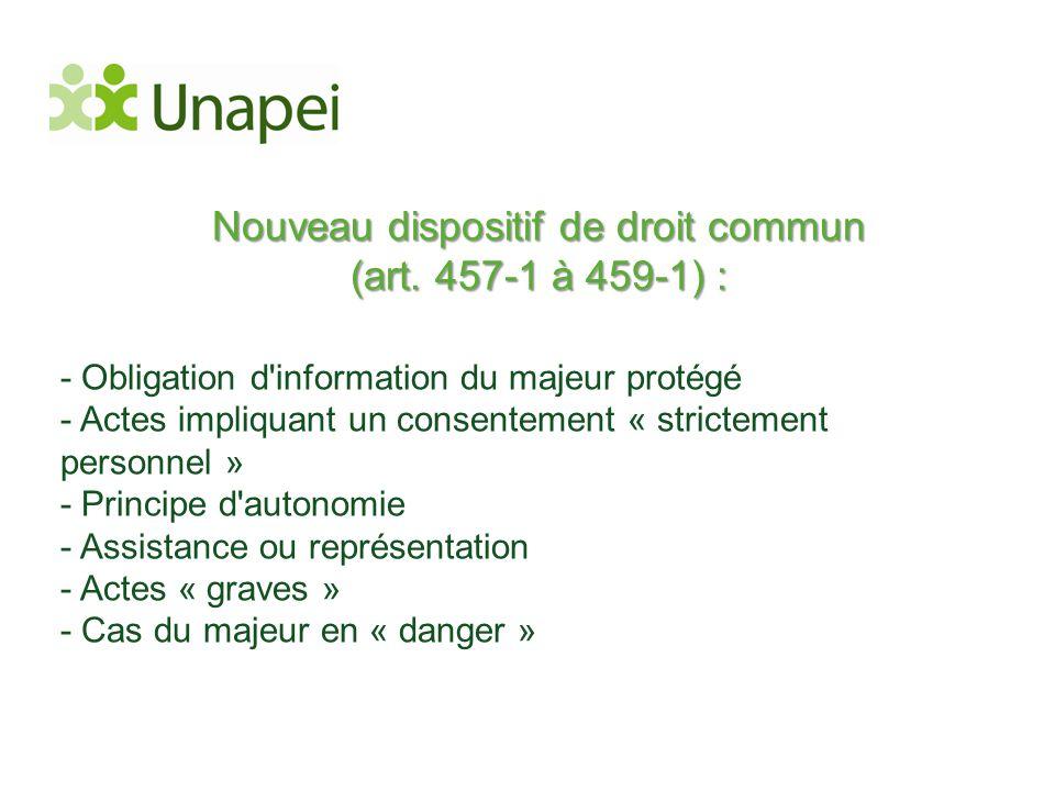 Nouveau dispositif de droit commun (art. 457-1 à 459-1) :