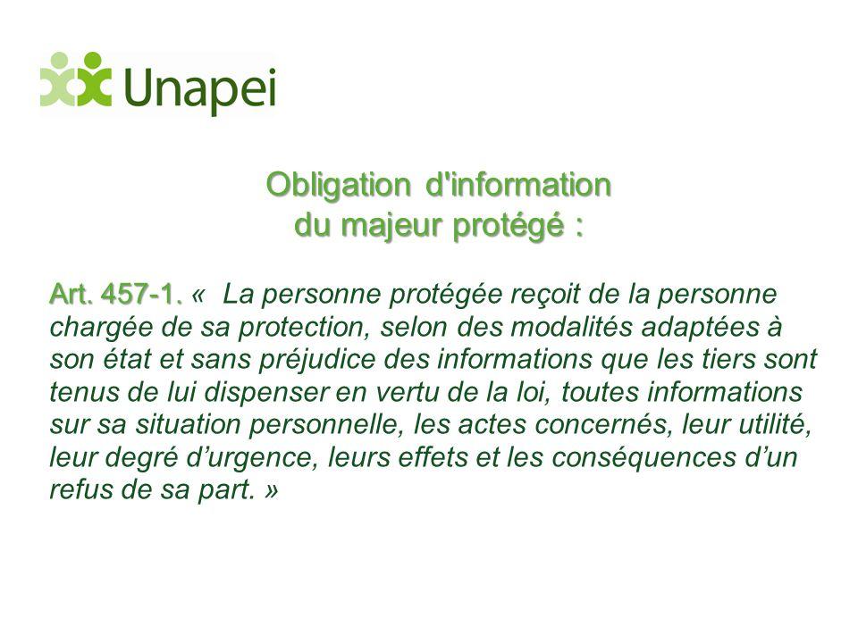 Obligation d information du majeur protégé :