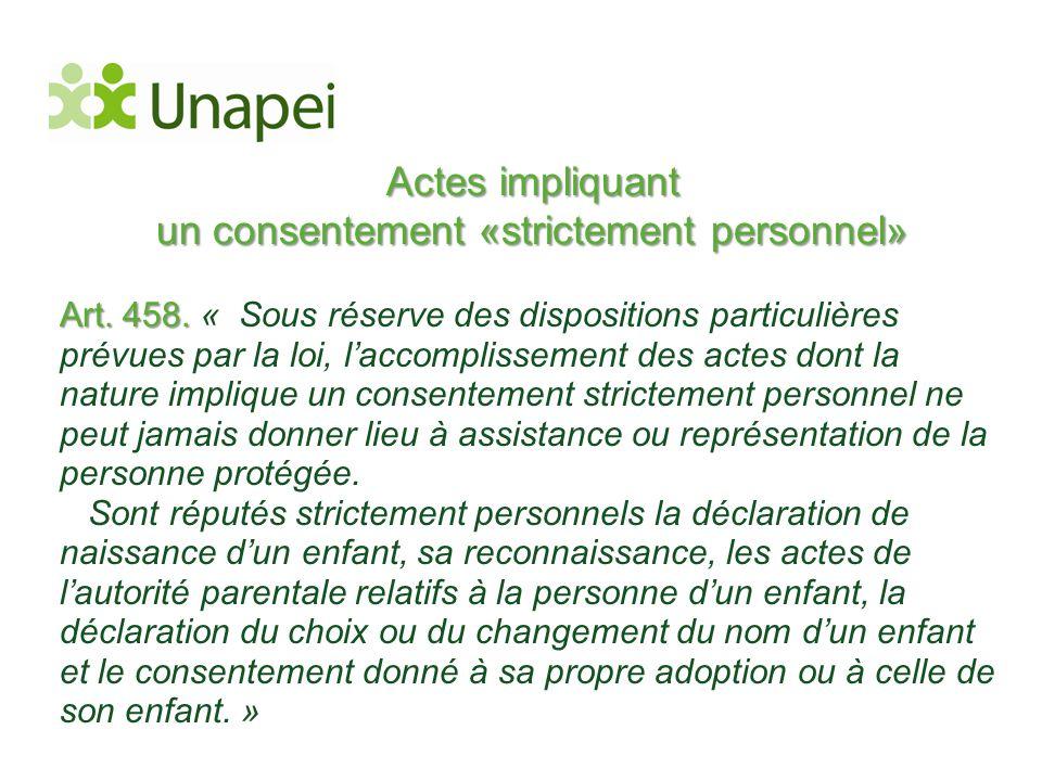 Actes impliquant un consentement «strictement personnel»