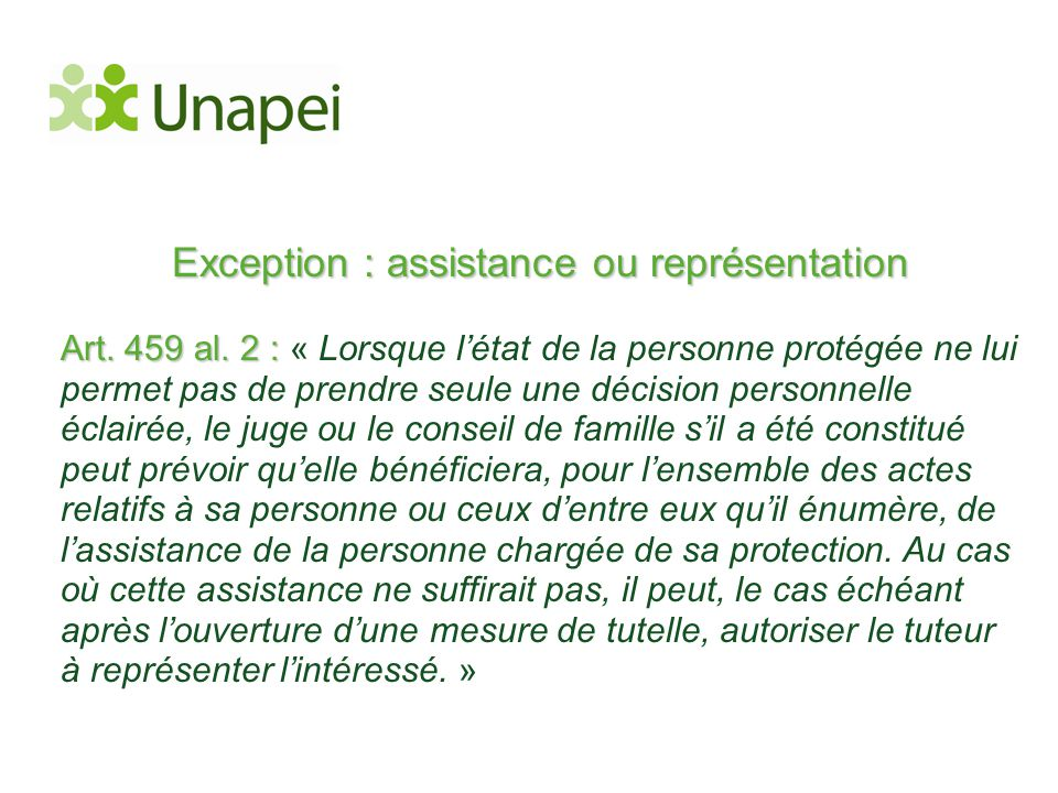 Exception : assistance ou représentation