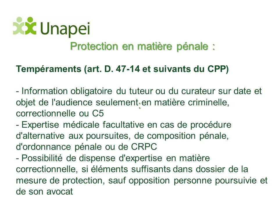 Protection en matière pénale :