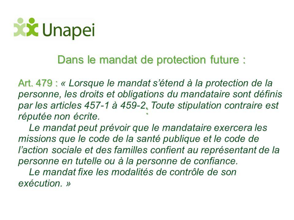 Dans le mandat de protection future :